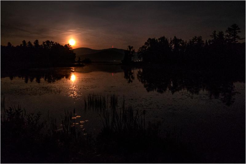Adirondacks Chateaugay Lake Moonrise 2 July 2018