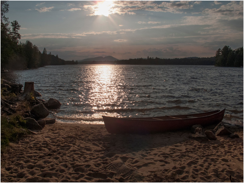 Adirondacks Forked Lake Canoe, Beach and View West from Site 75 2 August 2010