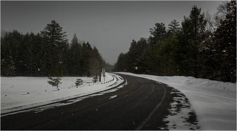 Adirondacks Arietta Route 30 while Snowing 2 March 2018