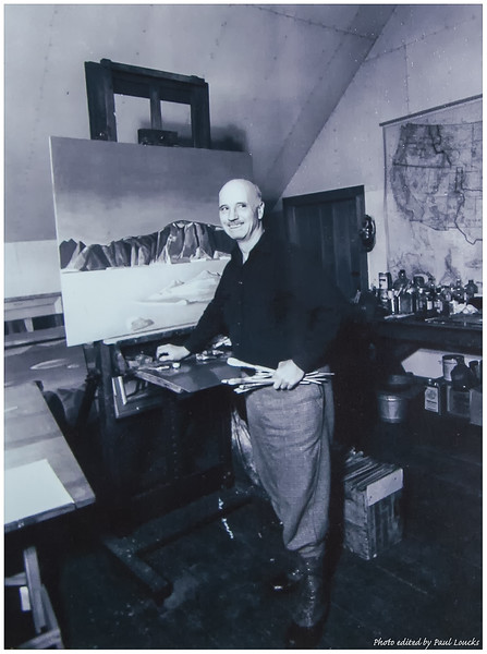 Photo of Rockwell Kent at Work in His Studio