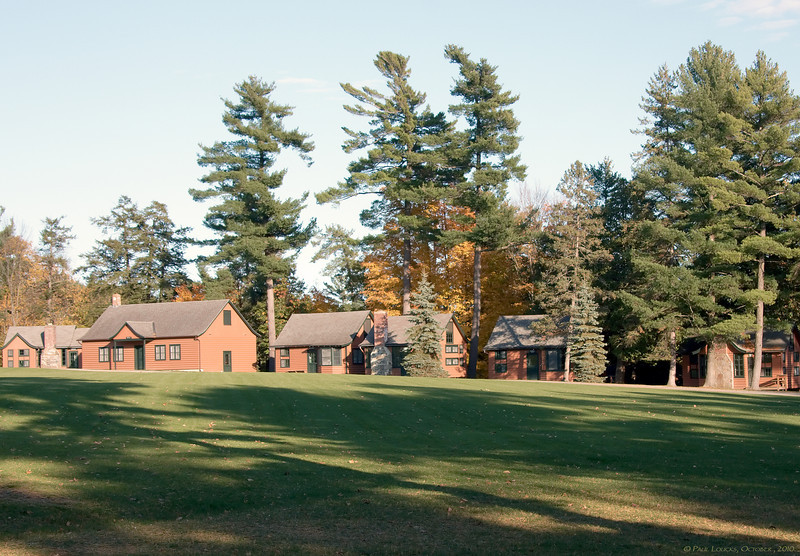 The Camp Dudley Commons ringed with cabins utilized by summer campers