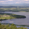 The lower Champlain Valley with Fort Ticonderoga in the center and Vermont's Green Mountains in the background
