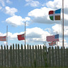 The flags of the major combatants at Ticonderoga