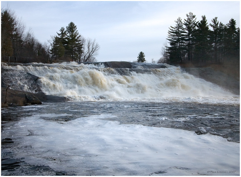 An early visit to Lampson Falls. It occurred during exceptionally mild weather on New Year's Day, 2007.