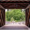 Walking through the covered bridge.