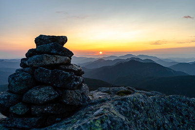 Rock Cairns atop Mt. Marcy at Sunrise