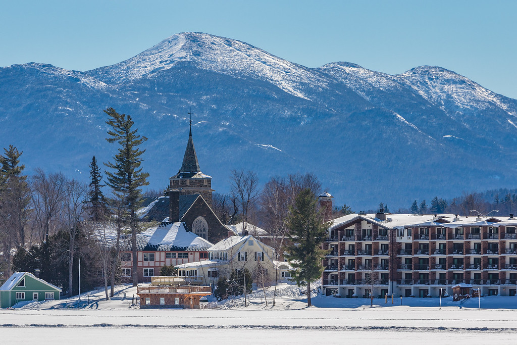 Downtown Lake Placid with Algonquin in the Background
