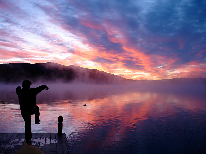 Karate Kid Sunrise on Upper Saranac Lake. 2009.