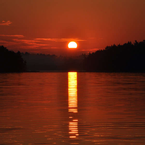 Red Sunset on Upper Saranac Lake. 2012.
