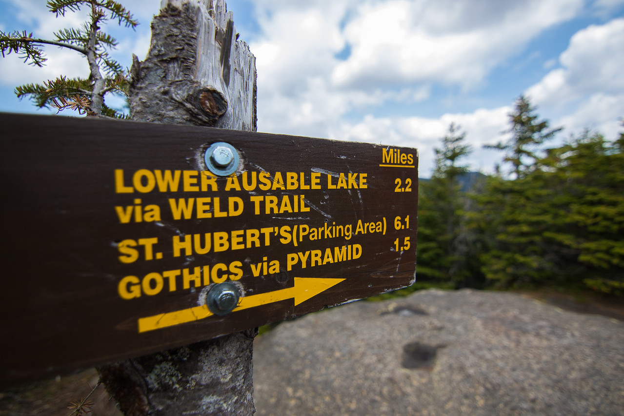 Hiking Trail Sign atop Sawteeth Mt.