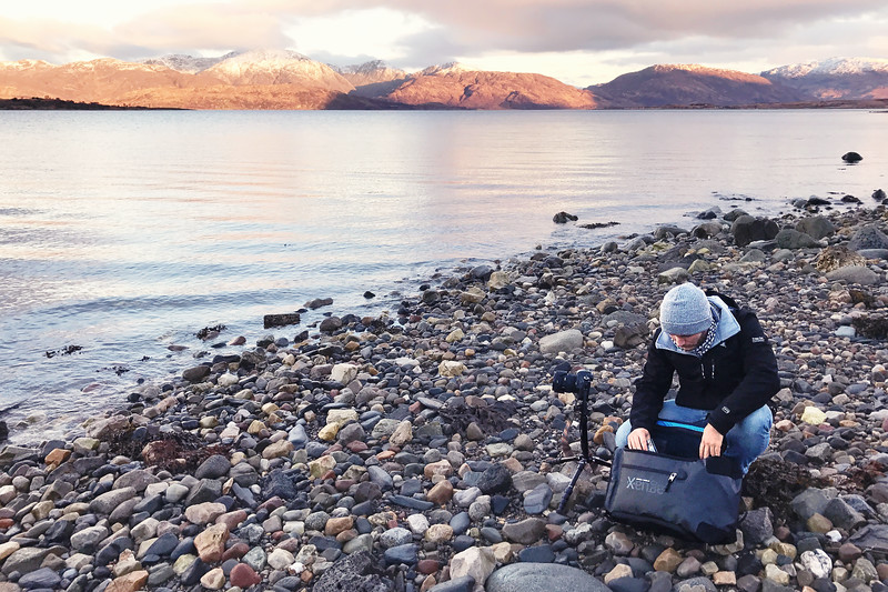 Photographer Prepares to Shoot a Sunrise Over Loch Linnhe in Scotland