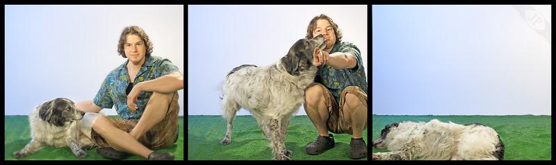 05.17.2013<br /> This is my pup Loki helping me with a set in the J.Pecora Studio.<br /> I know I say that sarcastically as he mostly lays around and gets fur on the backdrop. <br /> I have to give him credit though, when I'm free he's always up for an adventure, and after a long day he's always down to chill on the couch and do nothing.<br /> When he misbehaves he teaches me patience, but he always shows me love