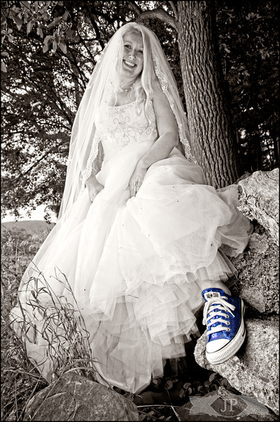 Blue shoes White dress