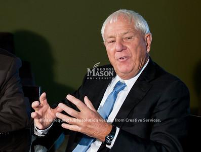 Mason President Dr. Alan Merten and Milton Peterson speak at The Mason Inn on Fairfax Campus