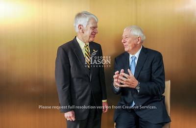 President Dr. Alan Merten and Milton Peterson Portrait, Speaking at The Mason Inn