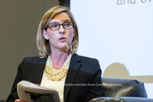Holly Sullivan, Amazon Head of World Economic Development, talks during a panel discussion about Amazon's selection of Arlington for a second headquarters held by the Metropolitan Washington Council of Governments hosted by George Mason. Photo by Lathan Goumas/Strategic Communications
