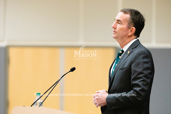Governor Ralph Northam announces a plan for state agencies and institutions to get 30 percent of their power from renewable sources by 2022 during an event at George Mason University's Arlington Campus. Photo by Lathan Goumas/Office of Communications and Marketing   Photo Taken:Friday, October 18, 2019