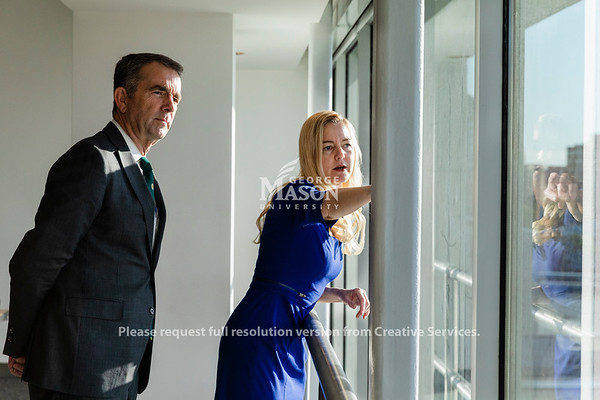 Volgenau School of Engineering Associate Dean for Strategic Initiatives and Community Engagement Liza Wilson Durant shows Governor Ralph Northam the location of the proposed expansion of the Arlington campus at George Mason University. Photo by Lathan Goumas/Office of Communications and Marketing   Photo Taken:Friday, October 18, 2019