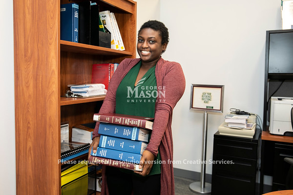 Ashley Matthews, Scalia Law Library.  Photo by:  Ron Aira/Creative Services/George Mason University