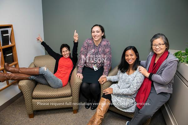 Sylvia Wolfe, Margarita Abaunza, Xialing Xu, Chehnaz Rehayem, Scalia Law School Records Office.  Photo by:  Ron Aira/Creative Services/George Mason University