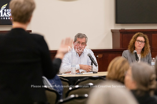 Vice Rector James Hazel and Faculty Senate Chair Shannon Davis listens during a Presidential Search Community Session. Photo by Lathan Goumas/Office of Communications and Marketing   Photo Taken:Wednesday, October 30, 2019