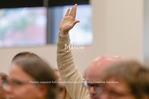 A hand is raised during a Presidential Search Community Session. Photo by Lathan Goumas/Office of Communications and Marketing   Photo Taken:Wednesday, October 30, 2019