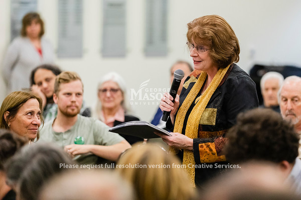 Professor Linda Monson speaks during a Presidential Search Community Session. Photo by Lathan Goumas/Office of Communications and Marketing   Photo Taken:Wednesday, October 30, 2019