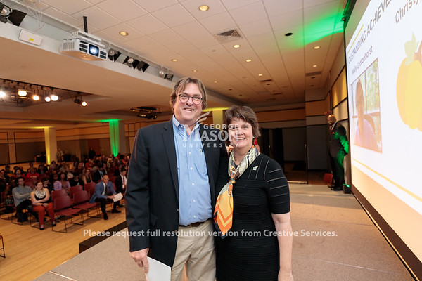 Wally Grotophorst receives an Outstanding Achievement Award from Interim President Anne Holton during the 2019 Outstanding Achievement Awards. Photo by Ian Shiff/Creative Services/George Mason University