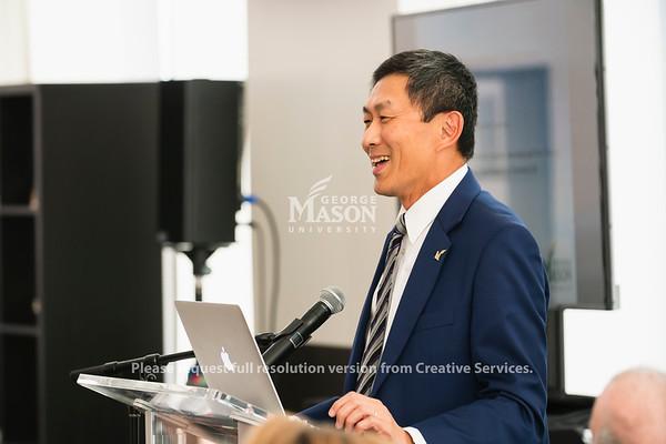 George Mason University Provost S. David Wu speaks at an American Council on Education Internationalization Laboratory launch. Photo by Lathan Goumas/Office of Communications and Marketing   Photo Taken:Monday, August 19, 2019