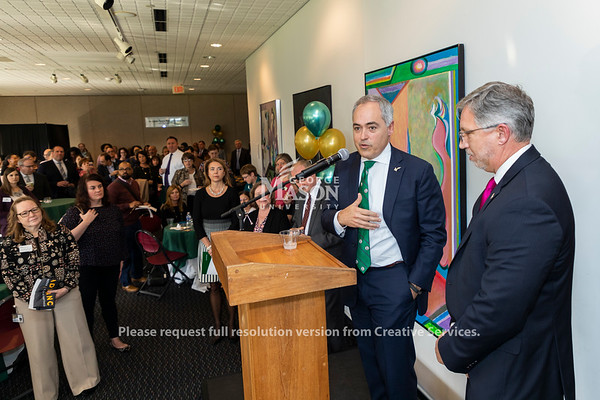 George Mason president Ángel Cabrera and Northern Virginia Community College president Scott Falls thank faculty and staff at the launch of the ADVANCE partnership. Photo by Lathan Goumas/Strategic Communications