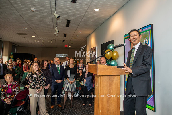 George Mason provost David Wu thanks faculty and staff at the launch of the ADVANCE partnership. Photo by Lathan Goumas/Strategic Communications