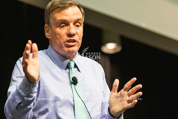 Sen. Mark Warner (D-Va.) speaks during a town hall at George Mason University. Photo by Lathan Goumas/Office of Communications and Marketing   Photo Taken:Friday, September 13, 2019