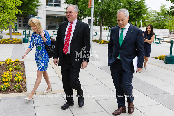 George Mason University Ángel Cabrera talks with United States Senator Tim Kaine and Vice President for innovation and new ventures Michelle Marks a the 2019 P3•EDU Conference at George Mason University's Arlington Campus. Photo by Lathan Goumas/Strategic Communications