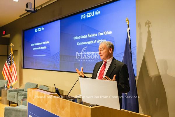 United States Senator Tim Kaine speaks at the 2019 P3•EDU Conference at George Mason University's Arlington Campus. Photo by Lathan Goumas/Strategic Communications