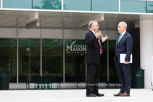 George Mason University Ángel Cabrera talks with United States Senator Tim Kaine at the 2019 P3•EDU Conference at George Mason University's Arlington Campus. Photo by Lathan Goumas/Strategic Communications