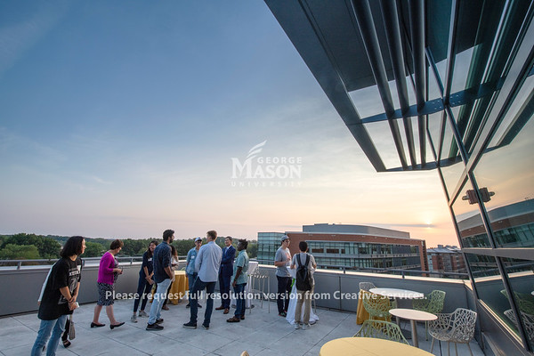 Merten Hall rooftop perspective on the Fairfax Campus at sunset.  photo by Evan Cantwell/Creative Services