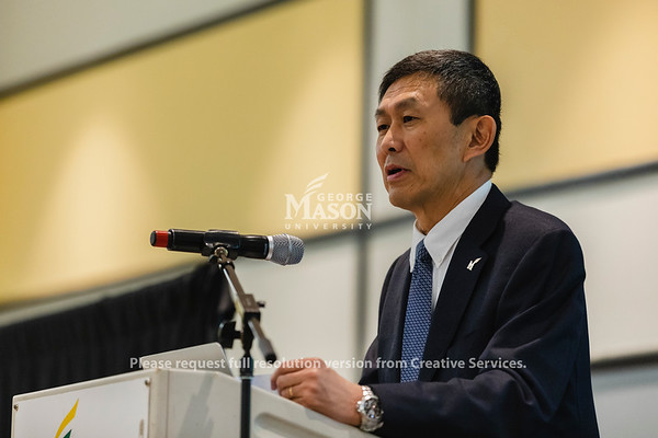 Provost David Wu talks about the Student Experience Redesign at a town hall. Photo by Lathan Goumas/Office of Communications and Marketing   Photo Taken:Wednesday, October 30, 2019