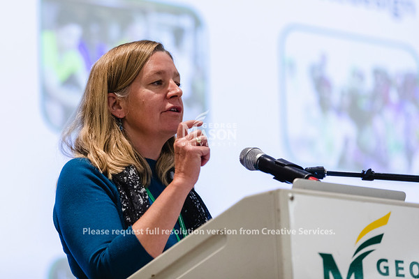 Associate Provost for Undergraduate Education Bethany Usher talks about the Student Experience Redesign at a town hall. Photo by Lathan Goumas/Office of Communications and Marketing   Photo Taken:Wednesday, October 30, 2019