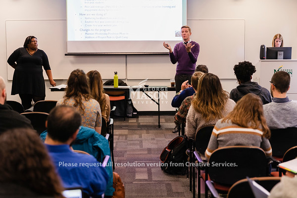 People listen to an update on the Student Experience Redesign during a breakout season on  new student orientation at a town hall. Photo by Lathan Goumas/Office of Communications and Marketing   Photo Taken:Wednesday, October 30, 2019