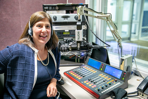 Mason President Gregory Washington interviewed School of Business professor, Lisa Gring-Pemble, for an episode of the Access to Excellence podcast on Oct. 7, 2021. Photo by: Shelby Burgess/Strategic Communications/George Mason University