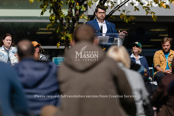 Alex Bozmoski, managing director of republicEn, speaks during the Fridays for Future climate rally at George Mason University. Photo by Lathan Goumas/Office of Communications and Marketing   Photo Taken:Friday, October 18, 2019