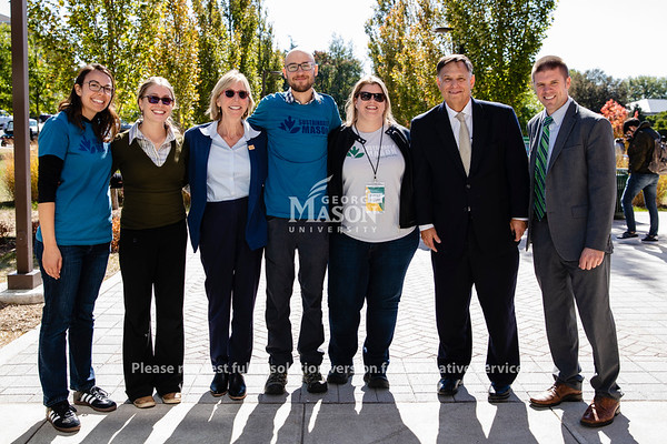 Senior Vice President of Finance and Administration Carol Kissal with members of the Office of Sustainability Staff. Photo by Lathan Goumas/Office of Communications and Marketing   Photo Taken:Friday, October 18, 2019