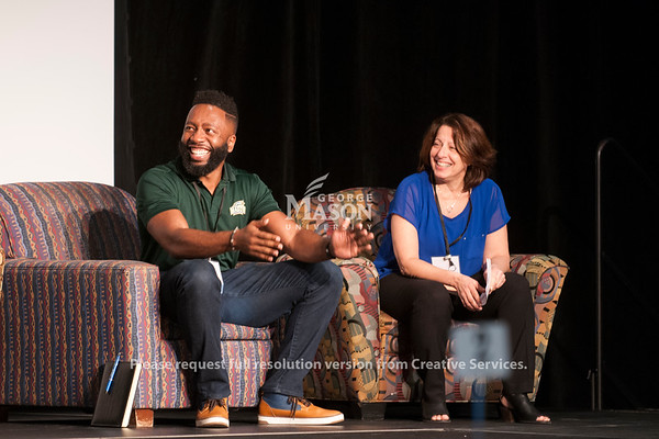 J. J. Davis, Rose Pascarell, and Julian Williams give closing remarks at the Diversity and Well-Being Summit. (Bethany Camp/Creative Services/George Mason University)