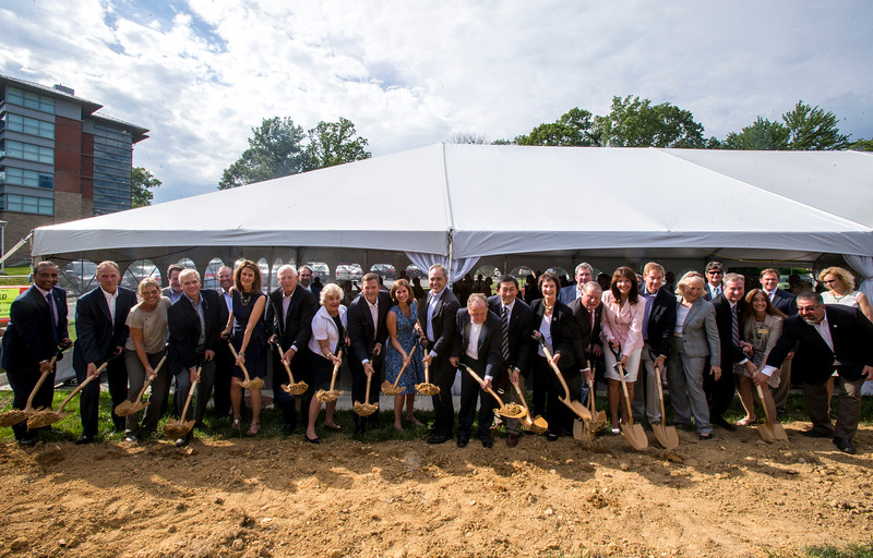 The Mason community celebrates a $10 million gift from the Peterson Family Foundation that will enable a ground-breaking for an academic building that will house the College of Health and Human Services at the Fairfax Campus. Photo by Craig Bisacre/Creative Services/George Mason University