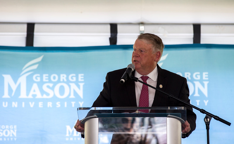 Virginia Delegate Scott Lingamfelter joins the Mason community to celebrate a $10 million gift from the Peterson Family Foundation that will enable a ground-breaking for an academic building that will house the College of Health and Human Services at the Fairfax Campus. Photo by Craig Bisacre/Creative Services/George Mason University