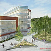 A aerial rendering of the new College of Health and Human Services building at Fairfax Campus. Provided by Perkins Eastman<br /> ***RENDERING AS OF 6/15