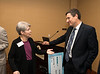 Professor Donna Sterling (L) and Michael Papay, Vice President of Cyber Initiatives at Northrop Grumman, chat after an announcement of a gift of $1,000,000 to VISTA program by  Northrop Grumman at Fairfax Campus. Photo by Alexis Glenn/Creative Services/George Mason University