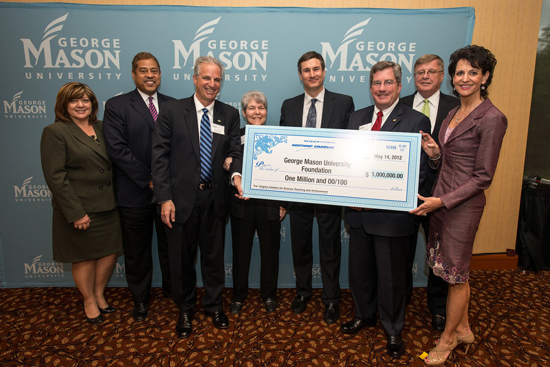 (L to R) Lynn Gilmore, of Northrop Grumman, Larry Wilder, Mark Ginsberg, Donna Sterling, Mike Papay of Northrop Grumman, Jimmy Hazel, Jim Duffey, and Michele Toth of Northrop Grumman announce a gift of $1,000,000 to VISTA program by  Northrop Grumman at Fairfax Campus. Photo by Alexis Glenn/Creative Services/George Mason University