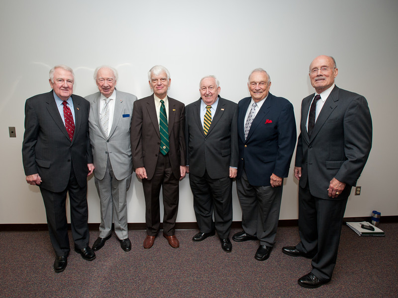 (L to R) Edwin Meese, Sidney Dewberry, Alan Merten, Marvin Murray, Stanley Harrison, and Rector Ernst Volgenau attend a Board of Visitors meeting at Fairfax Campus. Photo by Alexis Glenn/Creative Services/George Mason University
