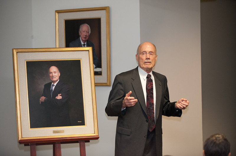 Rector Ernst Volgenau speaks at a Board of Visitors meeting after his portrait was unveiled at Fairfax Campus. Photo by Alexis Glenn/Creative Services/George Mason University
